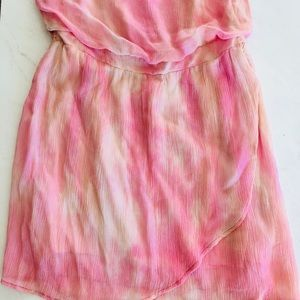 Gypsy 05 Pink Tie Dye Strapless Mini Dress Medium
